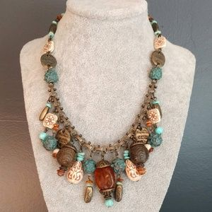 Brass w/patina, amber and bauble necklace